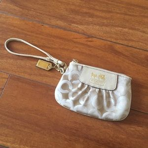 Coach Signature Small Wristlet Light Gold